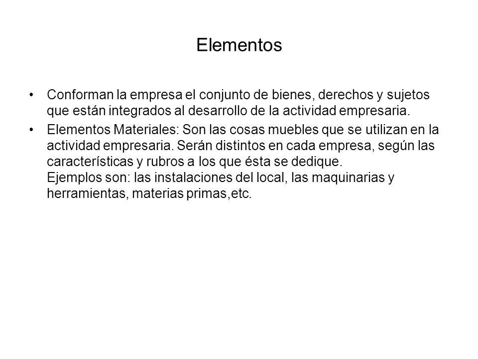 ElementosConforman la empresa el conjunto de bienes, derechos y sujetos que están integrados al desarrollo de la actividad empresaria.