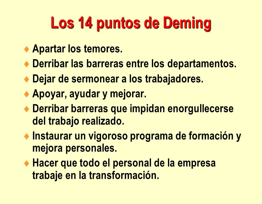 Los 14 puntos de Deming Apartar los temores.