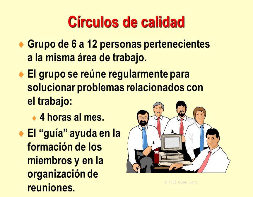 Círculos de calidad Grupo de 6 a 12 personas pertenecientes a la misma área de trabajo.