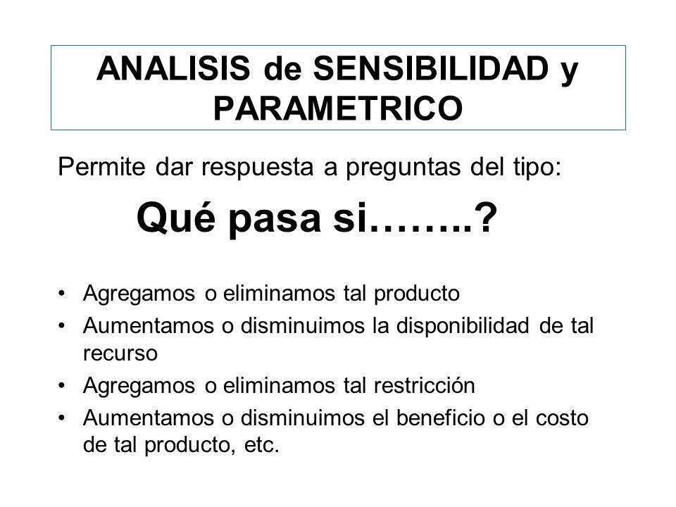ANALISIS de SENSIBILIDAD y PARAMETRICO