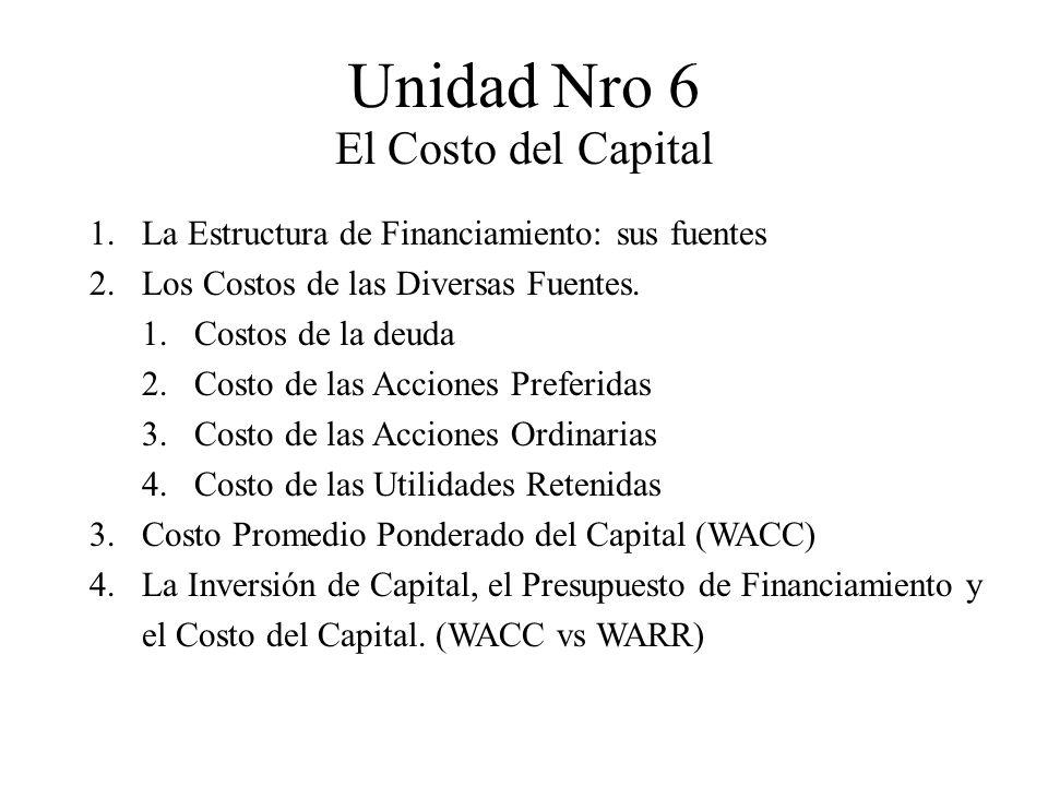 Unidad Nro 6 El Costo del Capital