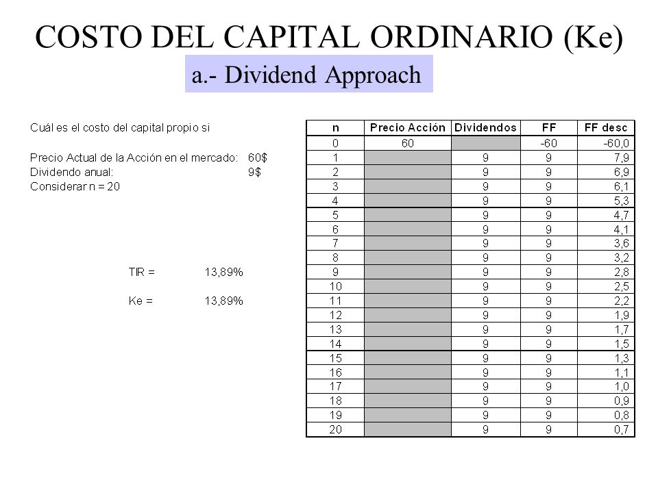 COSTO DEL CAPITAL ORDINARIO (Ke)
