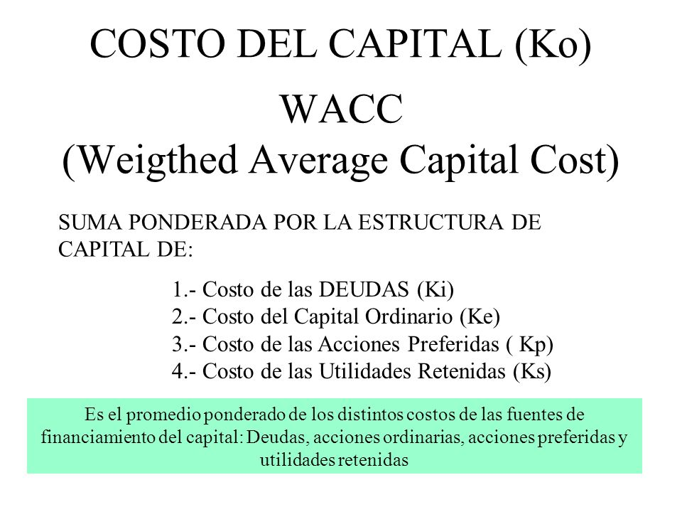 COSTO DEL CAPITAL (Ko) WACC (Weigthed Average Capital Cost)