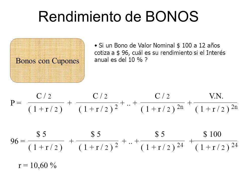 Rendimiento de BONOS Bonos con Cupones C / 2 ( 1 + r / 2 ) C / 2