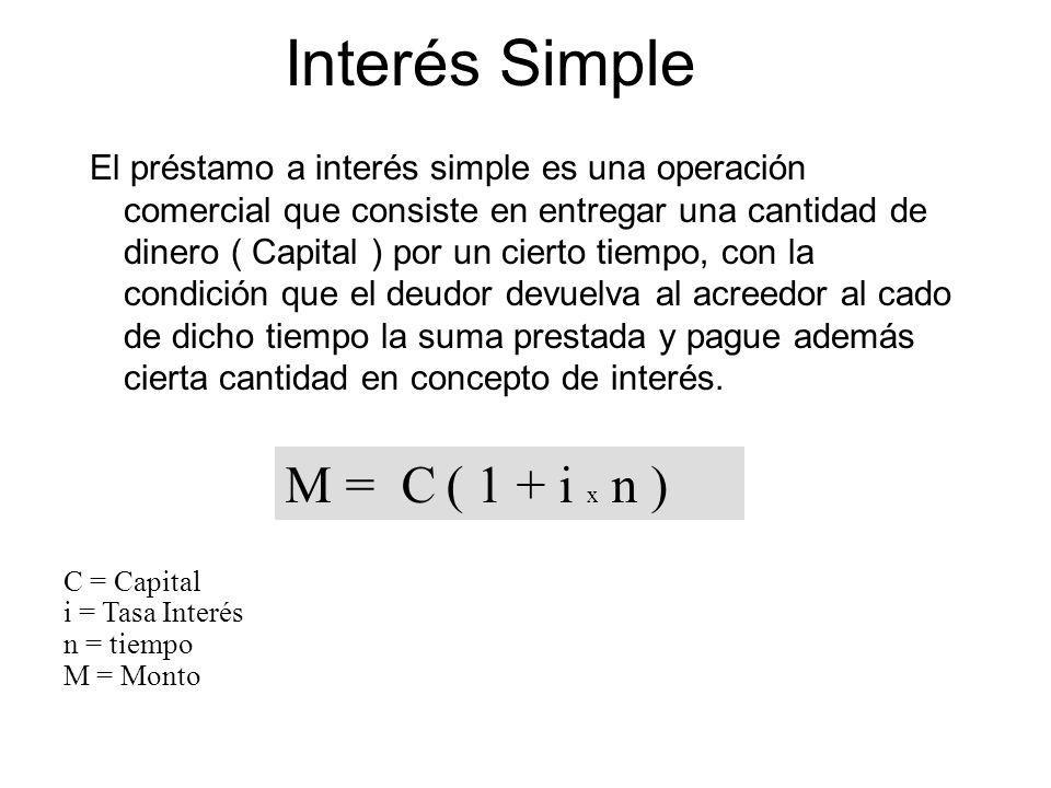 Interés Simple M = C ( 1 + i x n )
