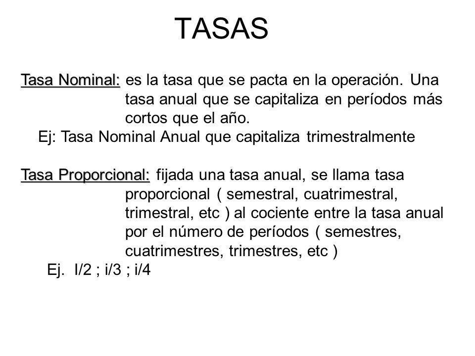 TASAS Tasa Nominal: es la tasa que se pacta en la operación. Una tasa anual que se capitaliza en períodos más cortos que el año.