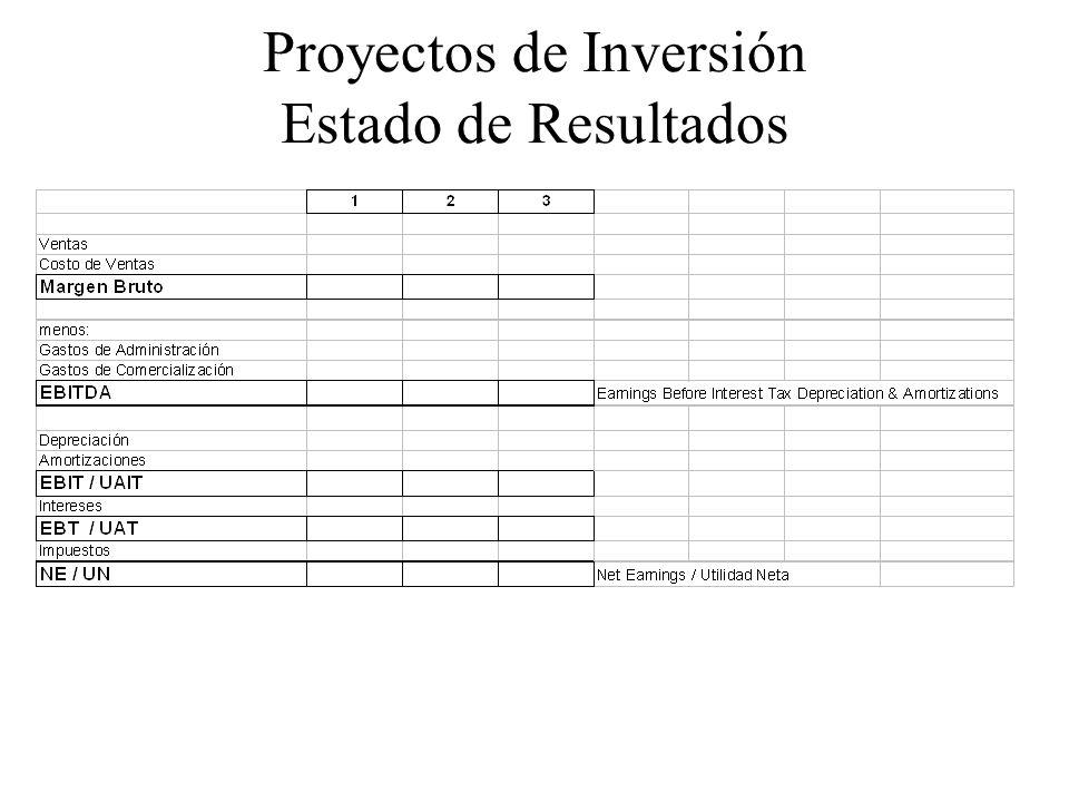 Proyectos de Inversión Estado de Resultados