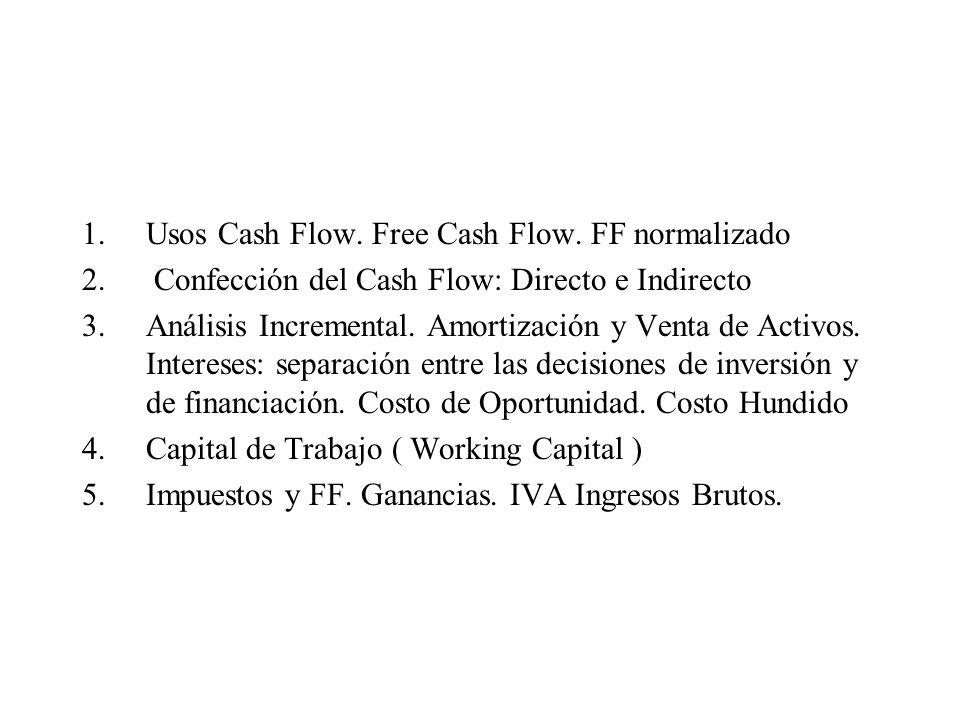 Usos Cash Flow. Free Cash Flow. FF normalizado