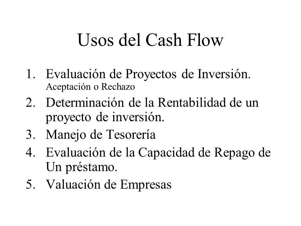 Usos del Cash FlowEvaluación de Proyectos de Inversión. Aceptación o Rechazo. Determinación de la Rentabilidad de un proyecto de inversión.