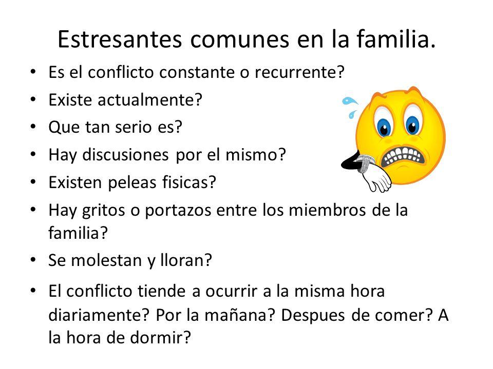 Estresantes comunes en la familia.