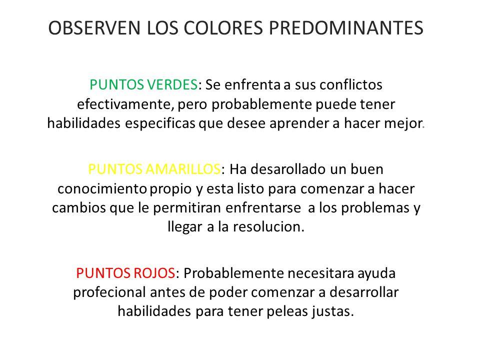 OBSERVEN LOS COLORES PREDOMINANTES