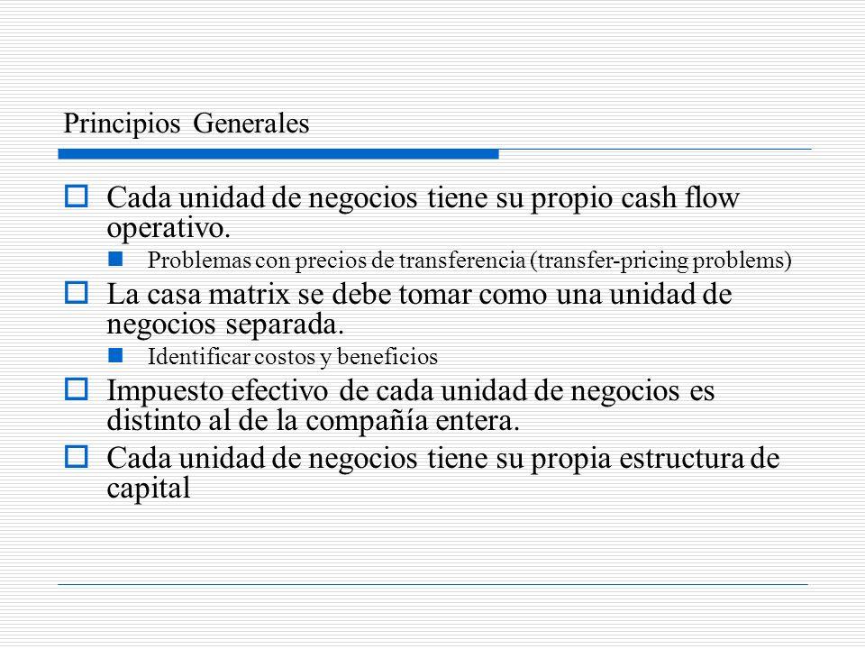 Cada unidad de negocios tiene su propio cash flow operativo.