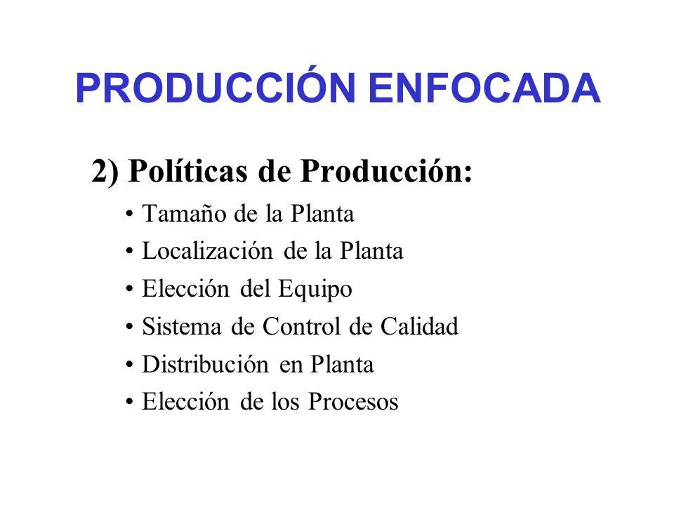 PRODUCCIÓN ENFOCADA 2) Políticas de Producción: Tamaño de la Planta