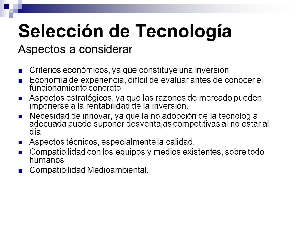 Selección de Tecnología Aspectos a considerar