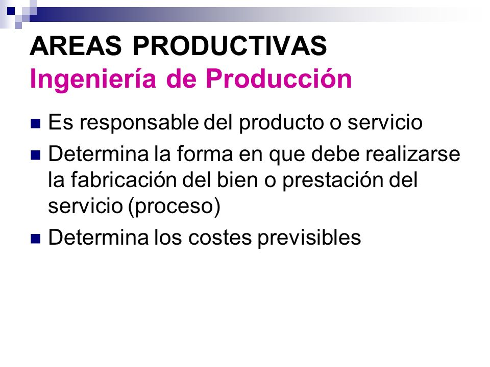 AREAS PRODUCTIVAS Ingeniería de Producción