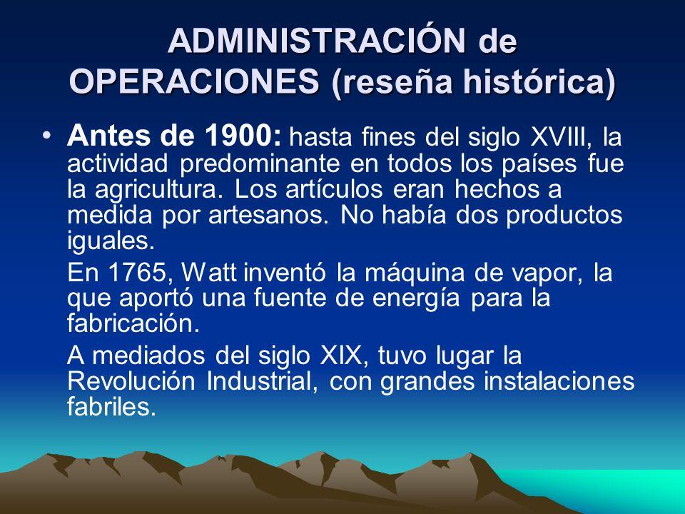 ADMINISTRACIÓN de OPERACIONES (reseña histórica)