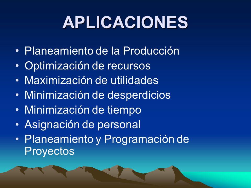 APLICACIONES Planeamiento de la Producción Optimización de recursos