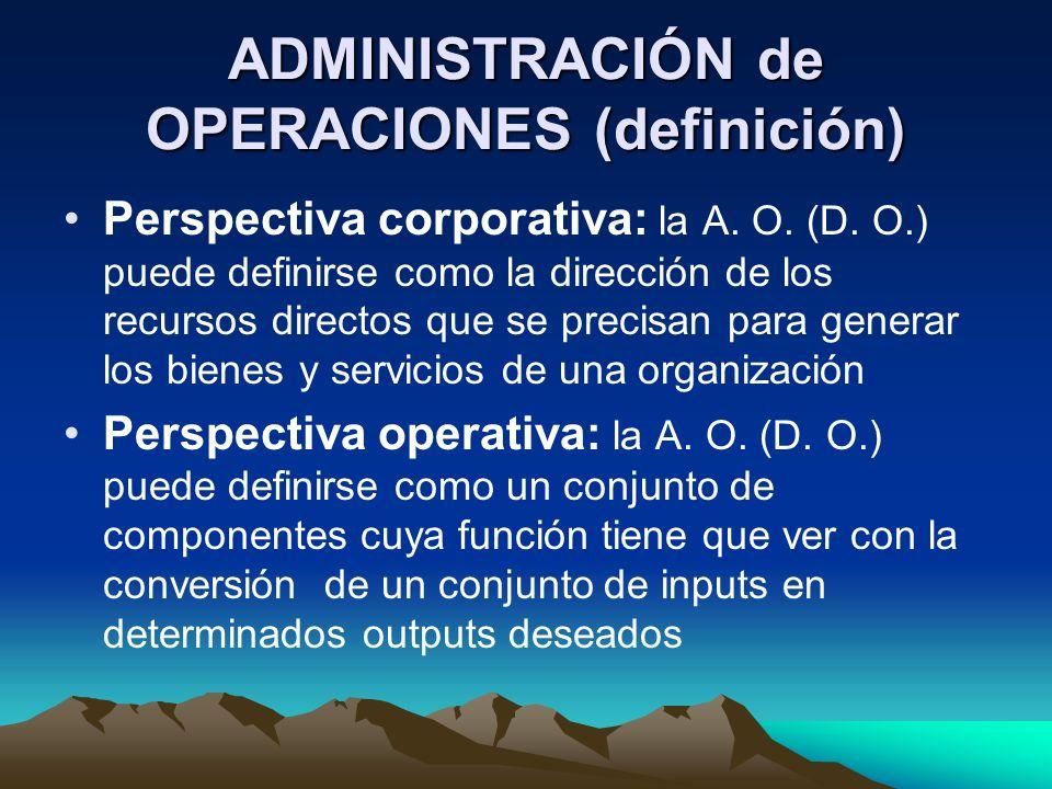 ADMINISTRACIÓN de OPERACIONES (definición)