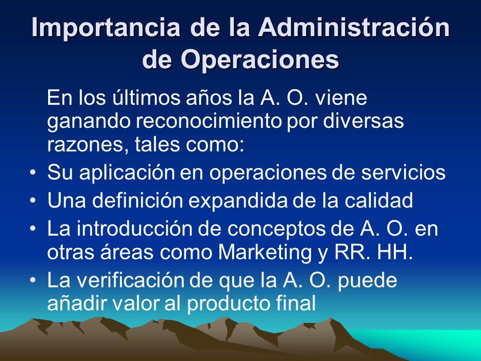 Importancia de la Administración de Operaciones