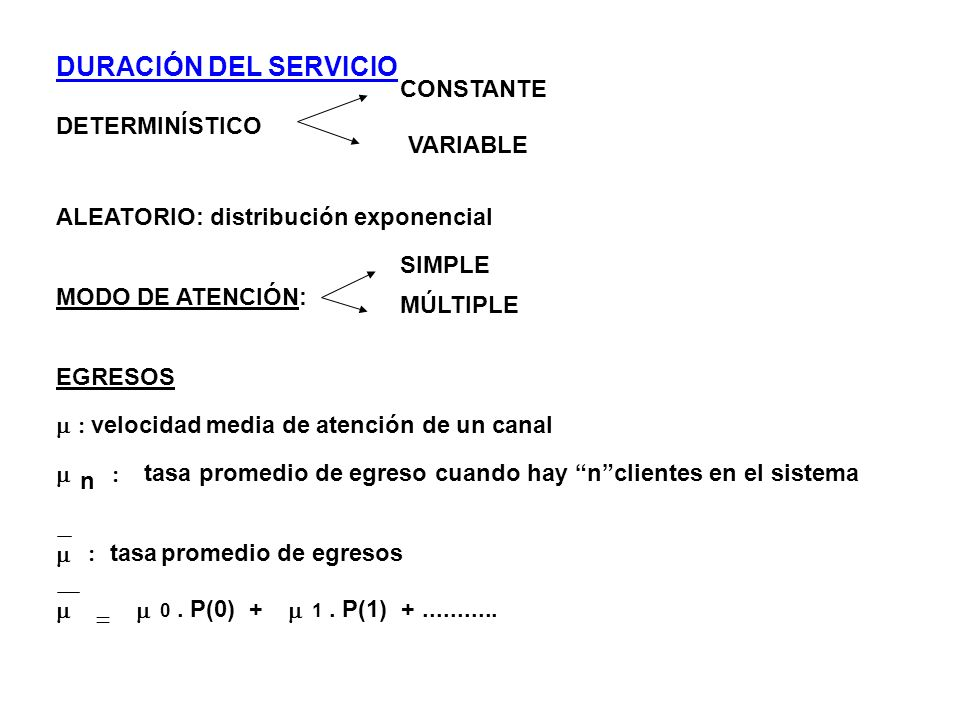 DURACIÓN DEL SERVICIO DETERMINÍSTICO CONSTANTE VARIABLE