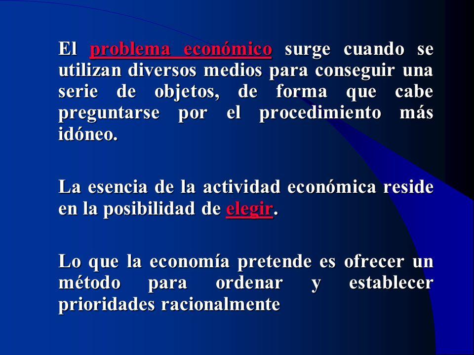 El problema económico surge cuando se utilizan diversos medios para conseguir una serie de objetos, de forma que cabe preguntarse por el procedimiento más idóneo.