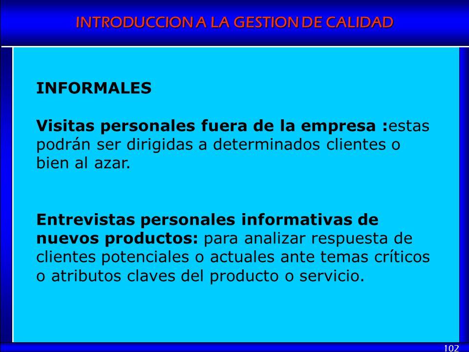 INFORMALES Visitas personales fuera de la empresa :estas podrán ser dirigidas a determinados clientes o bien al azar.