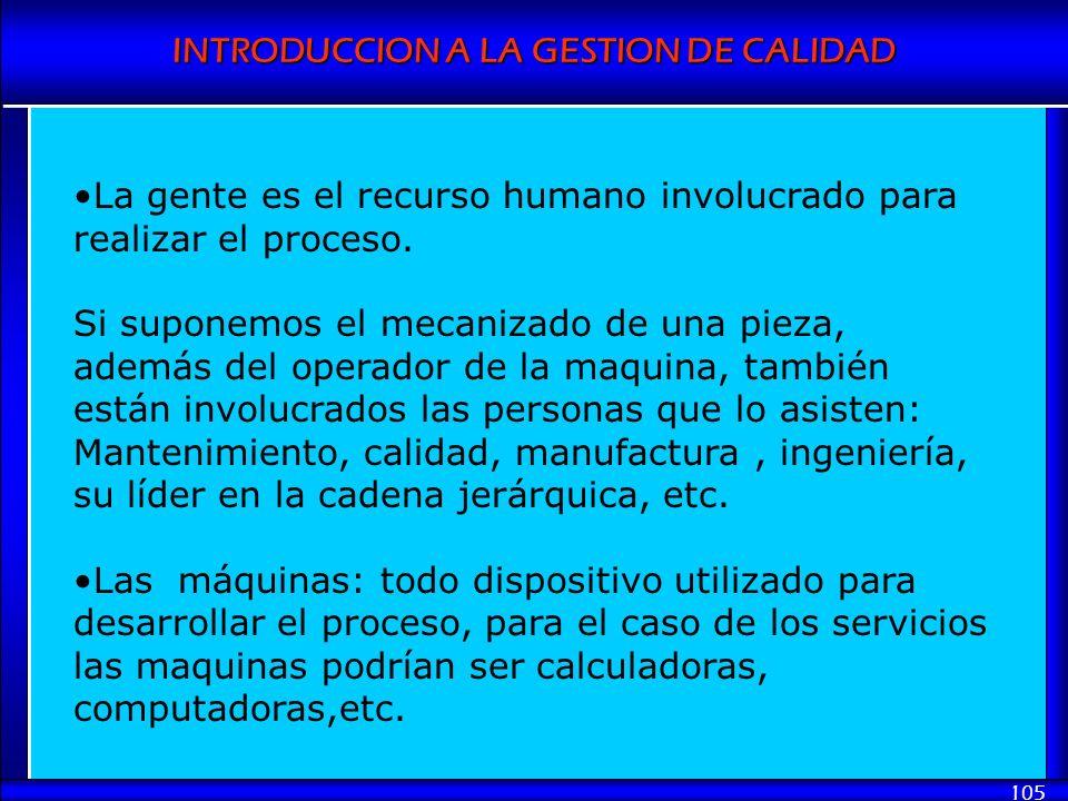 La gente es el recurso humano involucrado para realizar el proceso.