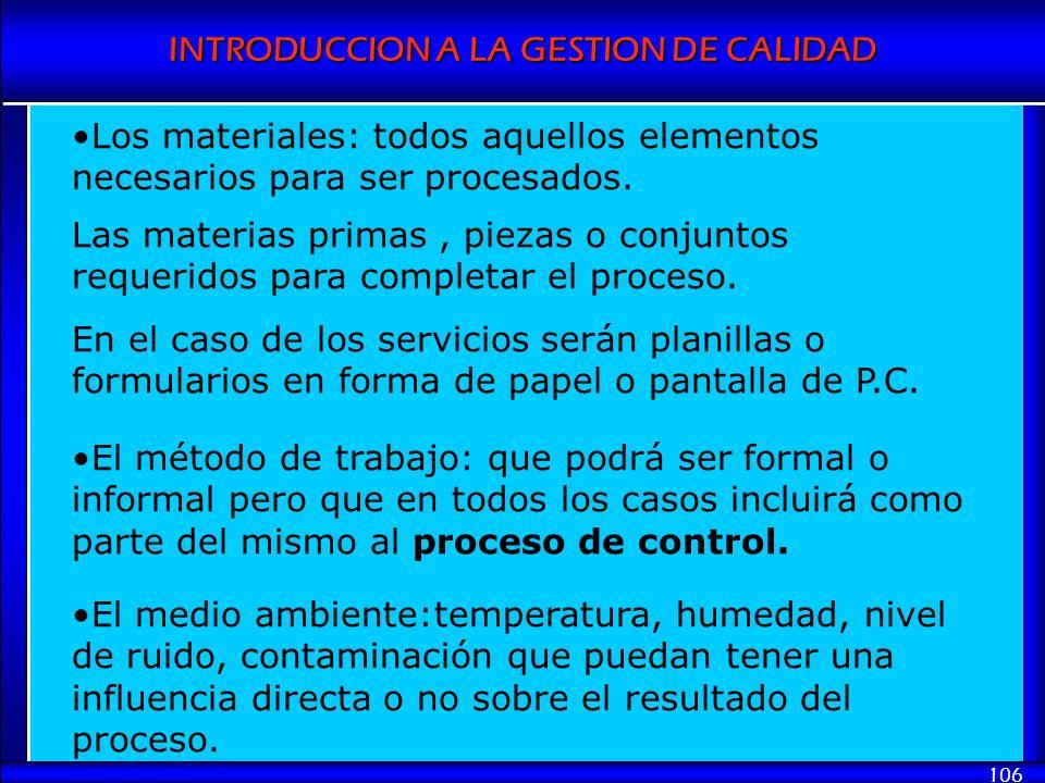 Los materiales: todos aquellos elementos necesarios para ser procesados.