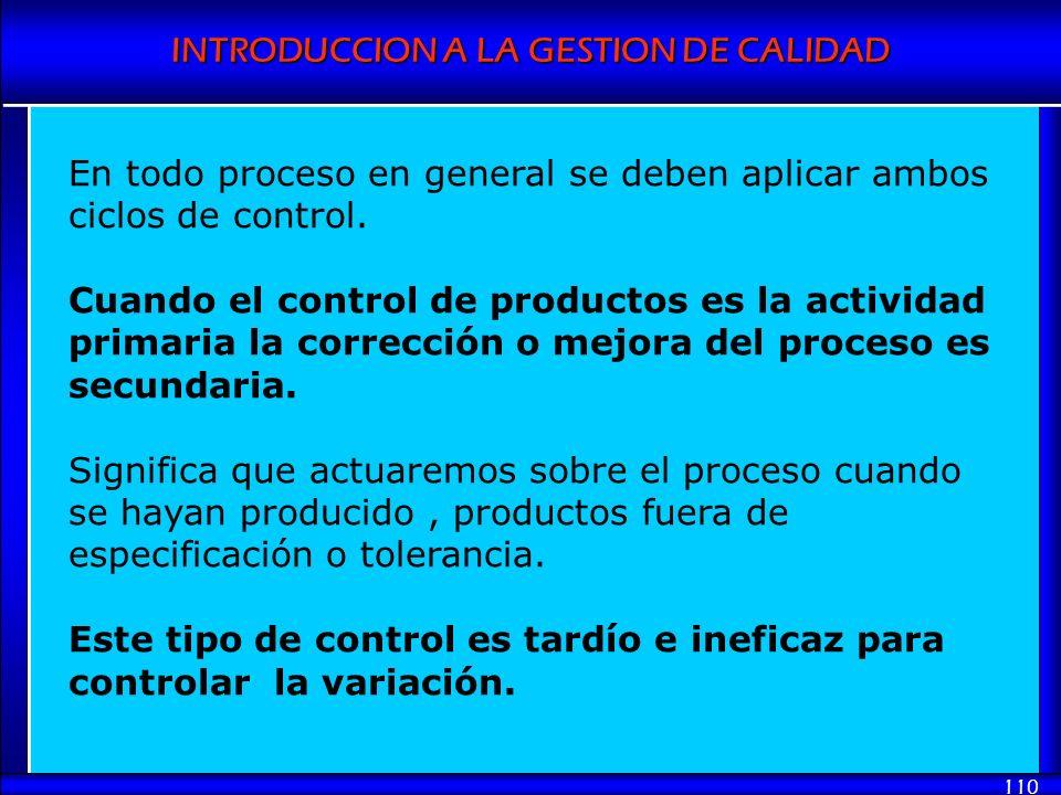 En todo proceso en general se deben aplicar ambos ciclos de control.