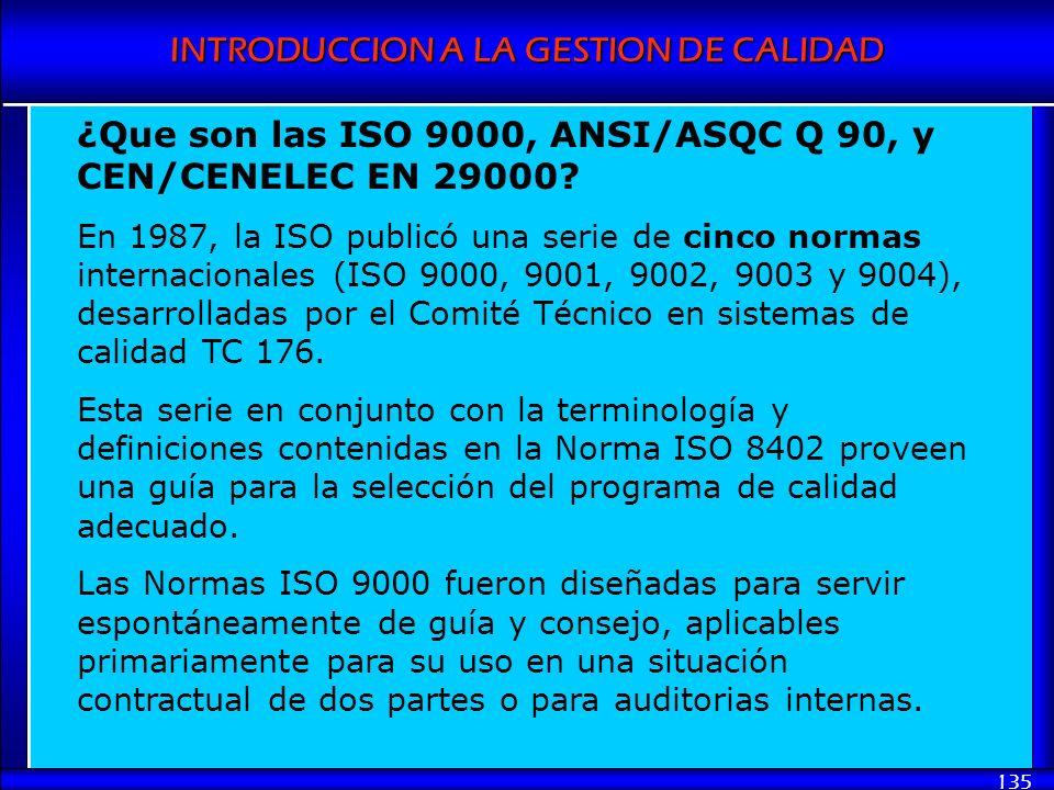 ¿Que son las ISO 9000, ANSI/ASQC Q 90, y CEN/CENELEC EN 29000