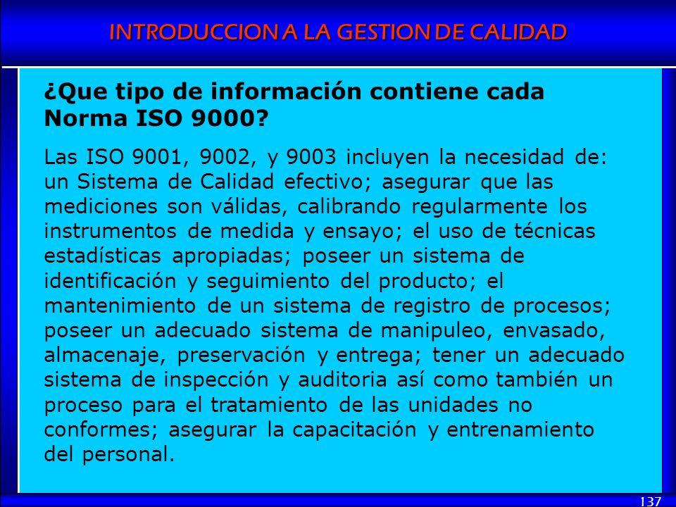 ¿Que tipo de información contiene cada Norma ISO 9000