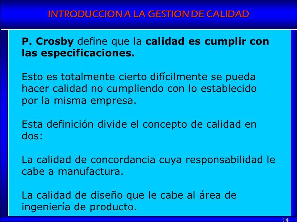 P. Crosby define que la calidad es cumplir con las especificaciones.