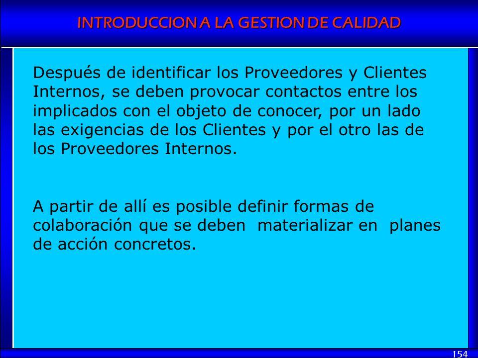 Después de identificar los Proveedores y Clientes Internos, se deben provocar contactos entre los implicados con el objeto de conocer, por un lado las exigencias de los Clientes y por el otro las de los Proveedores Internos.