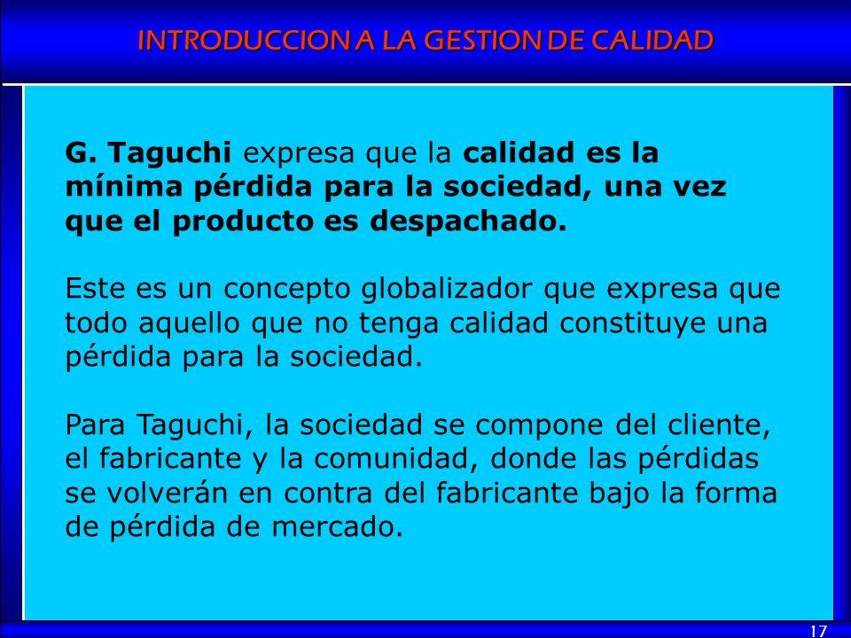G. Taguchi expresa que la calidad es la mínima pérdida para la sociedad, una vez que el producto es despachado.