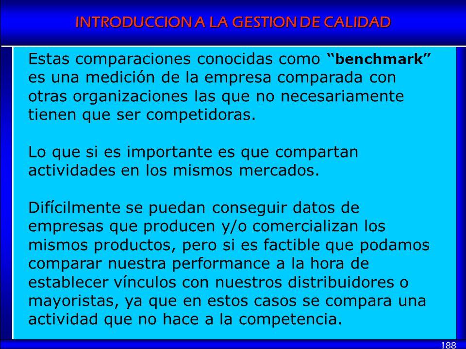 Estas comparaciones conocidas como benchmark es una medición de la empresa comparada con otras organizaciones las que no necesariamente tienen que ser competidoras.