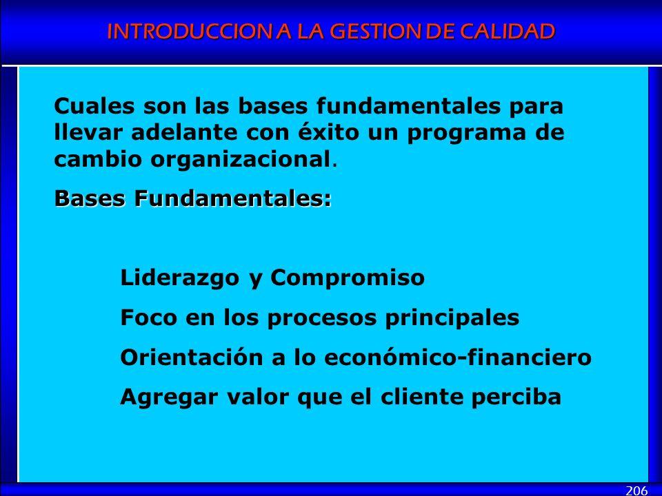 Cuales son las bases fundamentales para llevar adelante con éxito un programa de cambio organizacional.
