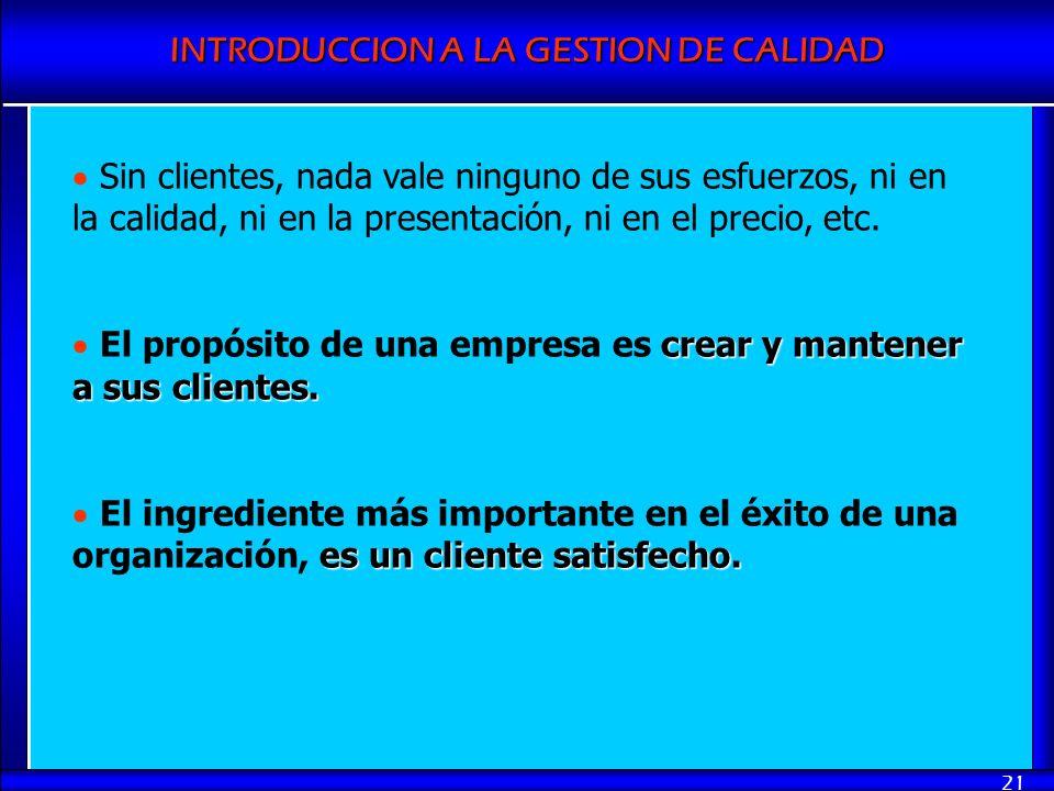 Sin clientes, nada vale ninguno de sus esfuerzos, ni en la calidad, ni en la presentación, ni en el precio, etc.