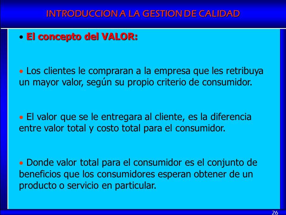 El concepto del VALOR:Los clientes le compraran a la empresa que les retribuya un mayor valor, según su propio criterio de consumidor.