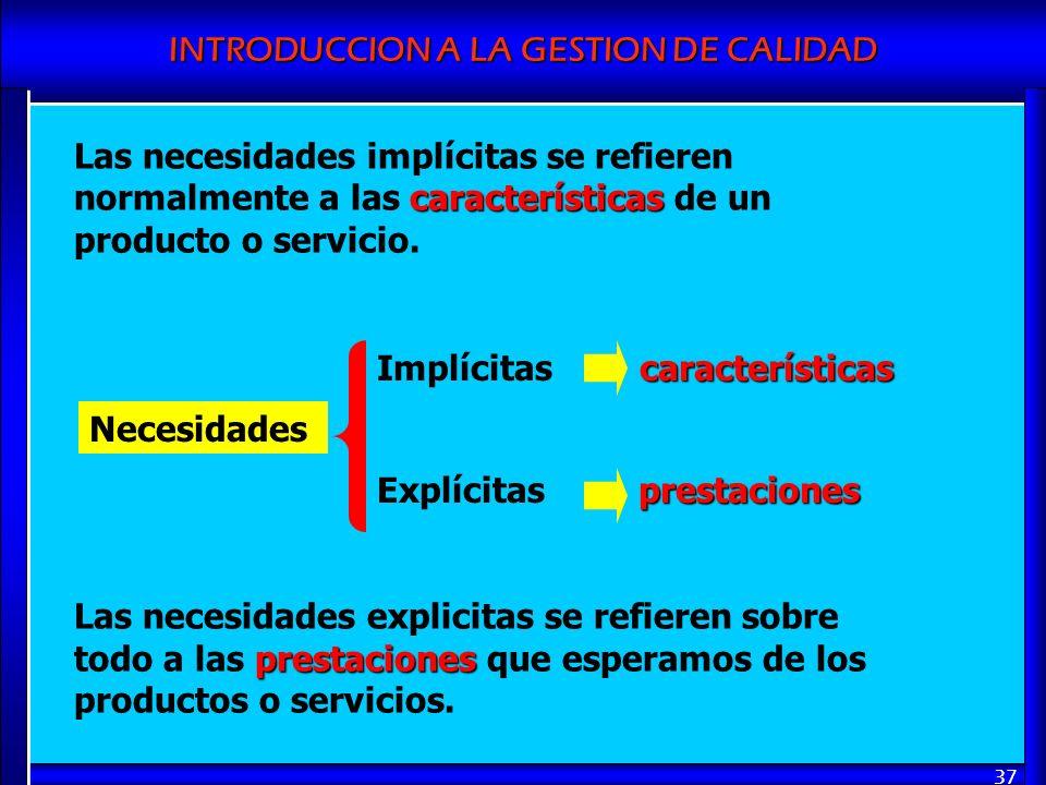Las necesidades implícitas se refieren normalmente a las características de un producto o servicio.