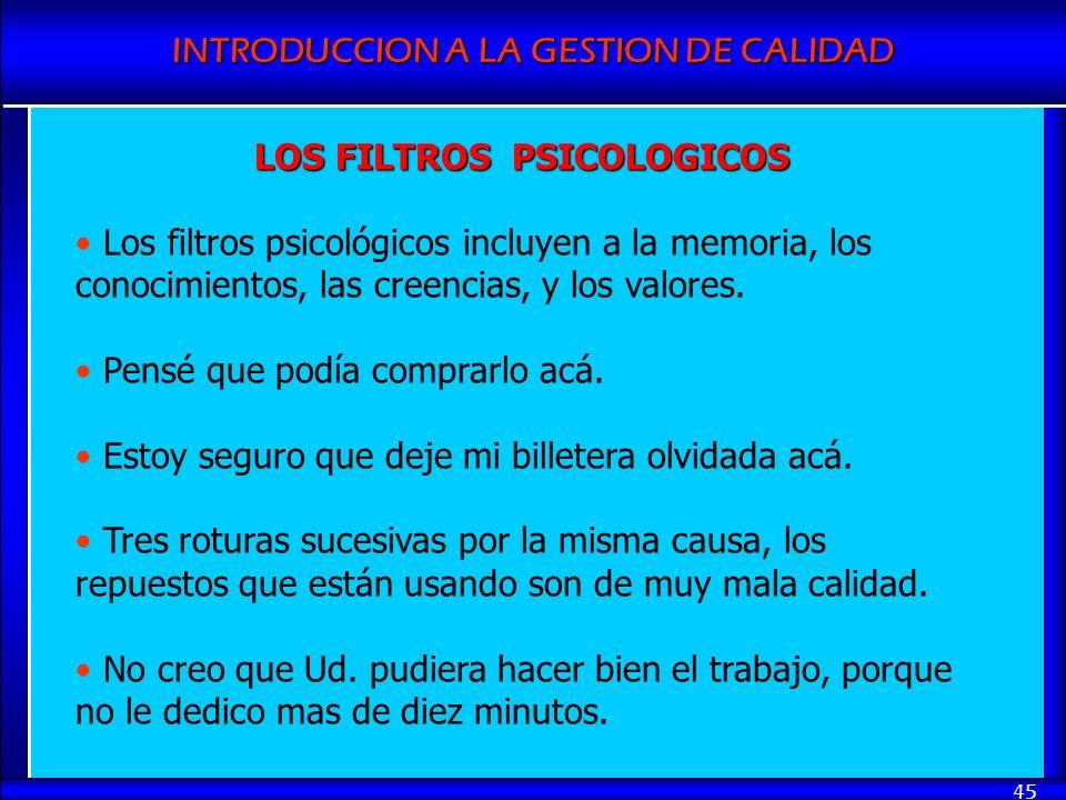 LOS FILTROS PSICOLOGICOS