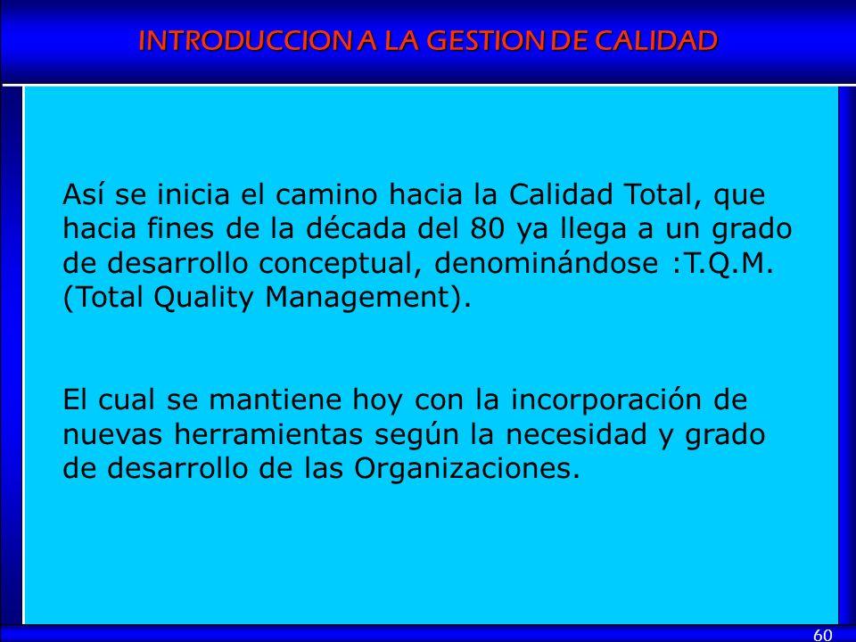 Así se inicia el camino hacia la Calidad Total, que hacia fines de la década del 80 ya llega a un grado de desarrollo conceptual, denominándose :T.Q.M. (Total Quality Management).