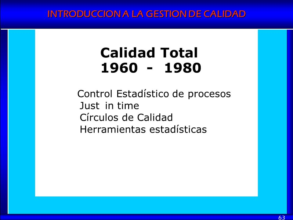 Calidad Total 1960 - 1980 Control Estadístico de procesos Just in time