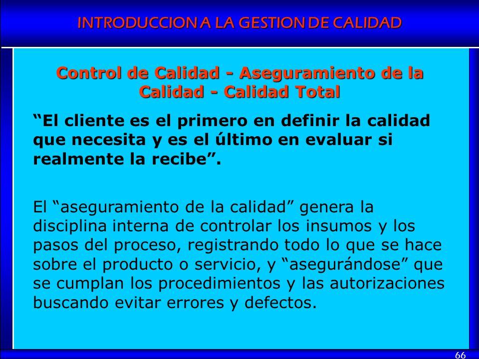 Control de Calidad - Aseguramiento de la Calidad - Calidad Total