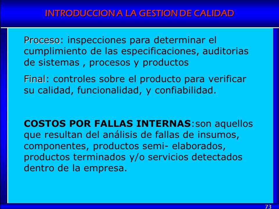Proceso: inspecciones para determinar el cumplimiento de las especificaciones, auditorias de sistemas , procesos y productos