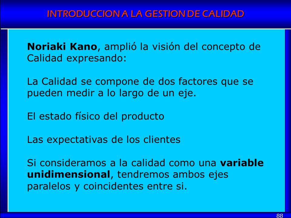 Noriaki Kano, amplió la visión del concepto de Calidad expresando: