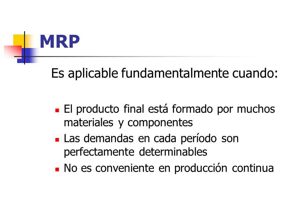 MRP Es aplicable fundamentalmente cuando: