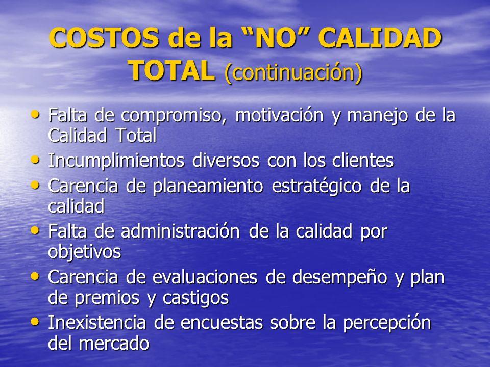 COSTOS de la NO CALIDAD TOTAL (continuación)