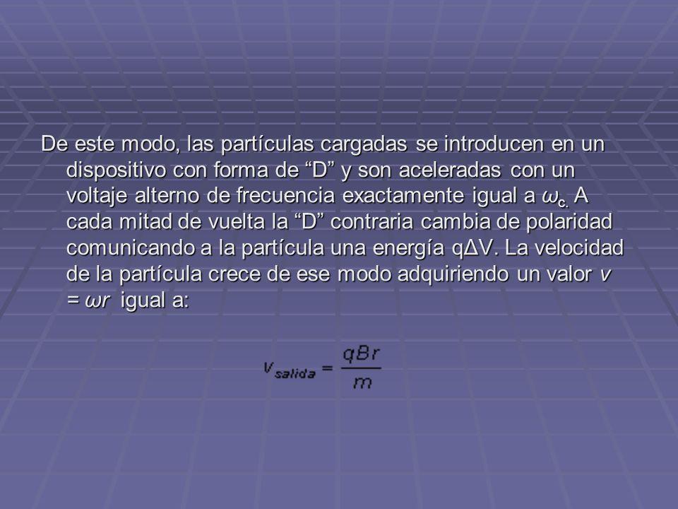 De este modo, las partículas cargadas se introducen en un dispositivo con forma de D y son aceleradas con un voltaje alterno de frecuencia exactamente igual a ωc.