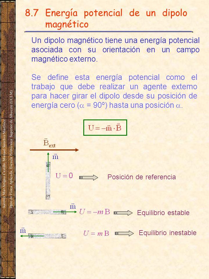 8.7 Energía potencial de un dipolo magnético