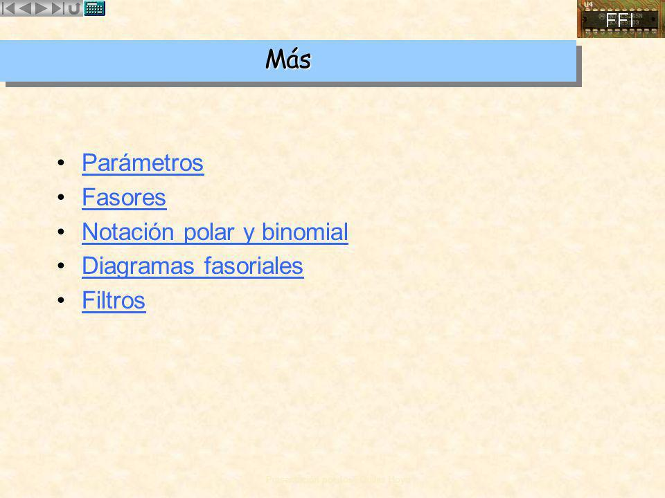 Más Parámetros Fasores Notación polar y binomial Diagramas fasoriales